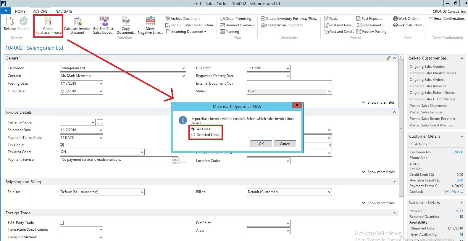 create-purchase-invoice-from-sales-order-in-nav-2017