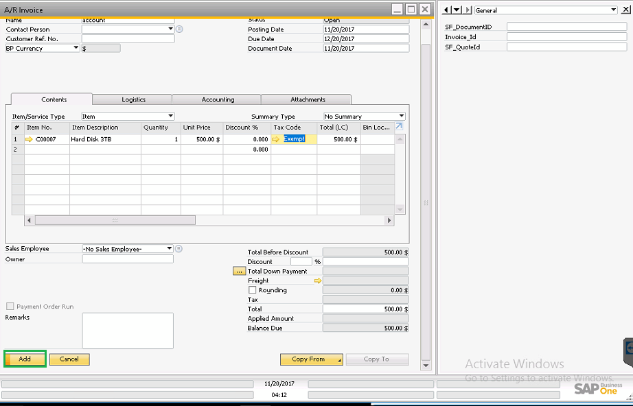 create-invoice-in-sap-business-one