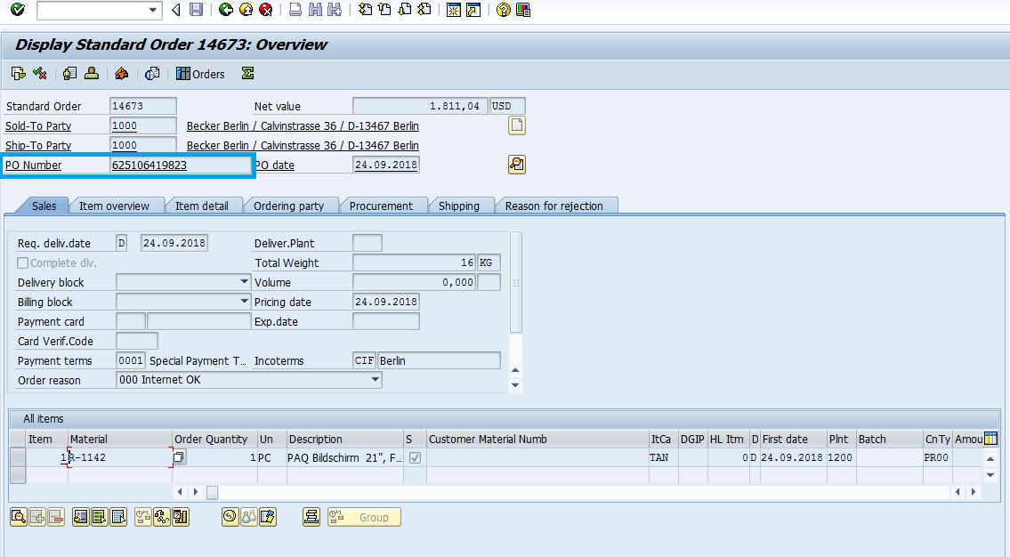 display-standard-order-in-sap