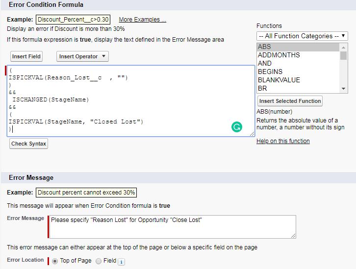 error-condition-formula