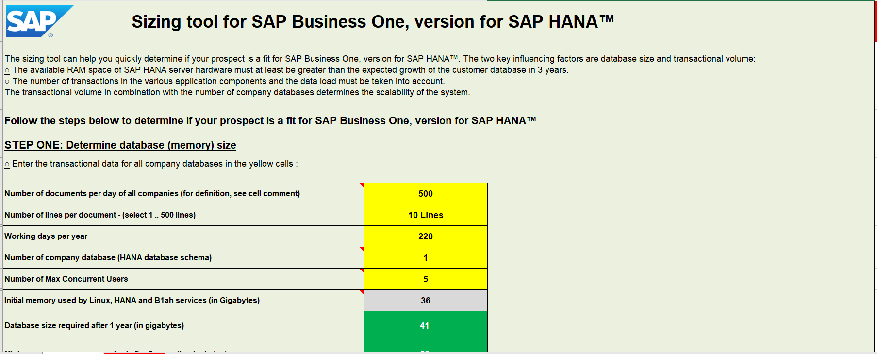 Sizing Tool for SAP Business One - Checking Eligibility to Use